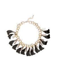 TOPSHOP - Black Petal Chain Collar Necklace - Lyst