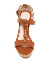 Elegant Footwear - Brown Gretta Studded Wedge Sandal - Lyst