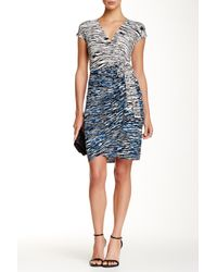 Maggy London - Blue Short Sleeve Printed Wrap Dress - Lyst