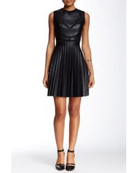 L.A.M.B. - Black Bonded Pleather Dress - Lyst