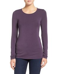 Halogen | Purple Long Sleeve Modal Blend Tee (petite) | Lyst