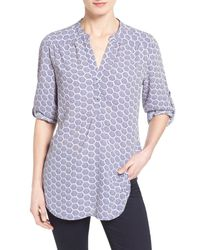 Halogen - Blue Roll Sleeve Split Neck Blouse - Lyst