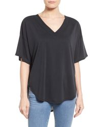 Halogen | Black Oversize Short Sleeve V-neck Tee | Lyst