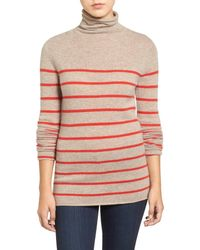 Halogen | Red Wool & Cashmere Funnel Neck Sweater (regular & Petite) | Lyst
