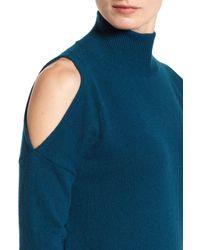 Halogen - Blue Cold Shoulder Turtleneck Sweater (petite) - Lyst
