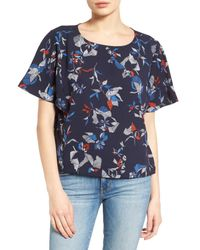 Halogen - Blue Dolman Sleeve Print Top (regular & Petite) - Lyst