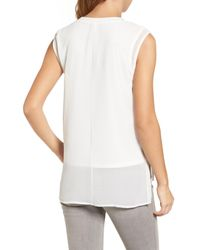 Halogen - White Double Layer Tank - Lyst