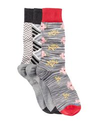 Hook + Albert | Gray Patterned Crew Socks - Pack Of 3 for Men | Lyst