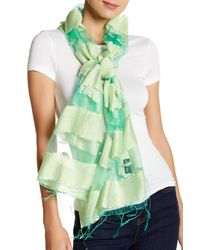 Blue Pacific | Green Silk Sheer Striped Wrap | Lyst