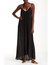 Love Stitch - Black Printed Gauze Maxi Dress - Lyst