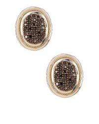 Effy | Metallic 18k Yellow Gold & Sterling Silver Black Diamond Stud Earrings - 0.62 Ctw | Lyst