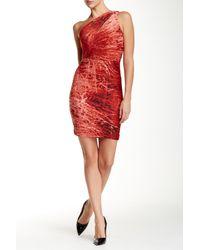 Halston | Red One Shoulder Cocktail Dress | Lyst