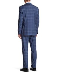 Ike Behar - Positano Blue Plaid Two Button Notch Lapel Suit for Men - Lyst