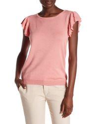 Joseph A | Pink Flutter Sleeve Pullover | Lyst