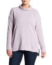 Joseph A | Purple Textured Cowl Neck Sweater (plus Size) | Lyst