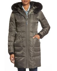 Vince Camuto - Gray Bib Front Down & Feather Fill Coat With Faux Fur - Lyst