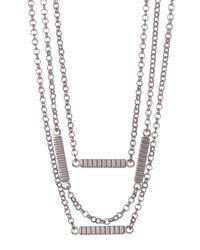 Fossil - Metallic Triple Chain Bar Necklace - Lyst