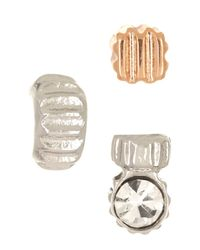 Fossil | Multicolor Textured Stud Earrings - Set Of 3 | Lyst