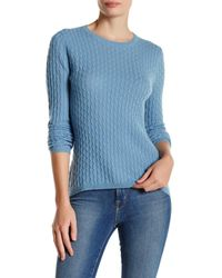In Cashmere | Blue Cashmere Cable Knit Pullover Sweater | Lyst