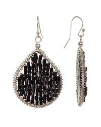 Joe Fresh - Black Beaded Oval Drop Earrings - Lyst