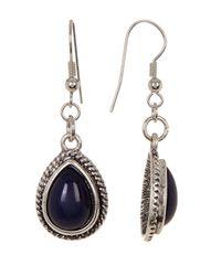 Joe Fresh | Black Teardrop Stone Drop Earrings | Lyst