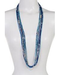 Joe Fresh - Blue Long Multi Row Bead Necklace - Lyst