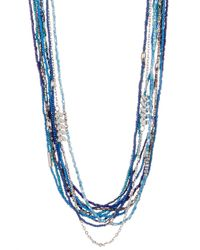Joe Fresh | Blue Long Multi Row Bead Necklace | Lyst