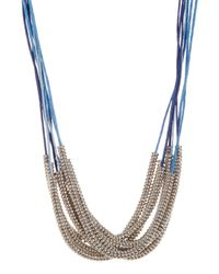 Joe Fresh | Blue Beaded Multi Row Cord Necklace | Lyst