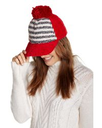 Cara | Red Boucle Knit Fleece Ball Cap | Lyst