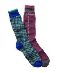 Jared Lang - Blue Pinwheel Crew Socks - Pack Of 2 for Men - Lyst