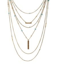 Lucky Brand - Metallic Major Lucky Turquoise Layer Necklace - Lyst