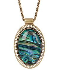Lucky Brand - Metallic Abalone Oval Pendant Necklace - Lyst