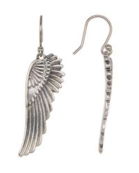 Lucky Brand - Metallic Silver-tone Feather Earrings - Lyst