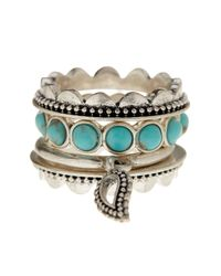 Lucky Brand | Metallic Silver Tone Turquoise Stackable Ring Set | Lyst