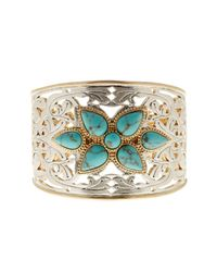 Lucky Brand - Metallic Etched Turquoise Statement Cuff - Lyst