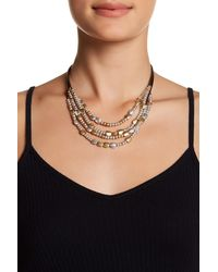 Lucky Brand | Black Two-tone Beaded Collar Necklace | Lyst