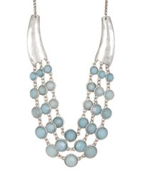 Lucky Brand - Multicolor Seafoam Layered Stone Necklace - Lyst