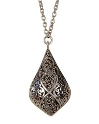Lois Hill - Metallic Sterling Silver Granulated & Cutout Teardrop Pendant Necklace - Lyst