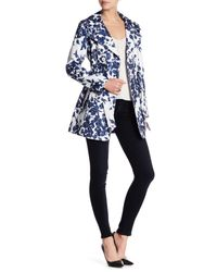 Jessica Simpson | Blue Floral Print Trench Coat | Lyst