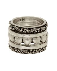 Lois Hill | Metallic Sterling Silver Heart Stackable Ring Set - Size 7 | Lyst