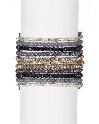 Panacea - Black Stone & Crystal Leather Cuff Bracelet - Lyst