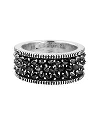 King Baby Studio - Sterling Silver Wide Reverse Set Black Cz Band for Men - Lyst