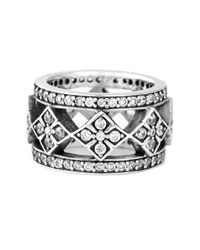 King Baby Studio - Metallic Sterling Silver Cz Cross Wide Band Ring - Lyst