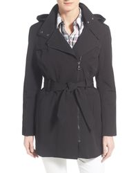Vince Camuto | Black Belted Asymmetrical Zip Trench Coat | Lyst