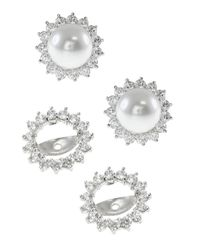 CZ by Kenneth Jay Lane - White Shell Pearl & Cz Halo Jacket Earrings - Lyst