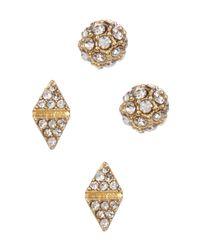 Cara | Multicolor Crystal Triangle Earrings Set | Lyst