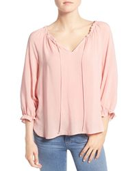 Velvet By Graham & Spencer - Pink Kimberly Peasant Blouse - Lyst
