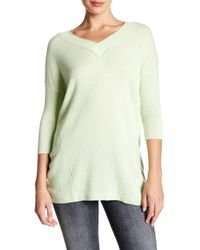 Kinross Cashmere | Green 3/4 Length Sleeve Deep V-neck Cashmere Sweater | Lyst