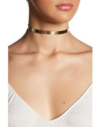 Cara | Metallic Polished Band Hanging Chain Choker Necklace | Lyst
