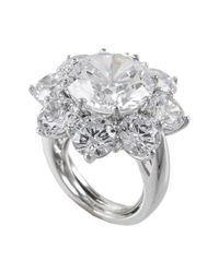 CZ by Kenneth Jay Lane - Metallic Cz Accented Halo Floral Ring - Lyst